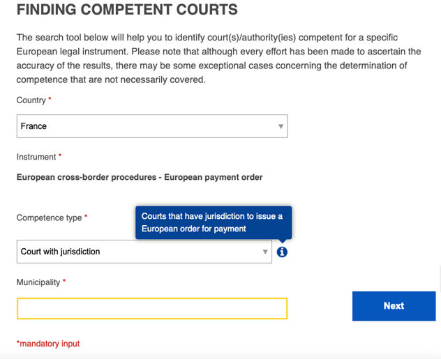 finding competent court in France